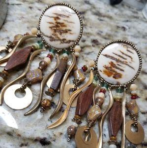 Rustic mother pearl earrings